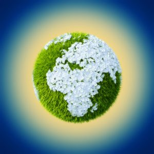 Earth made of grass and flowers set up on Euorpe